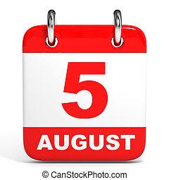 august., calendar., 5