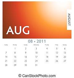 August Calendar - An image of a 2011 August calendar.