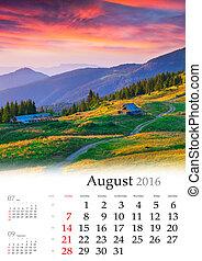 august., calendario, 2016.