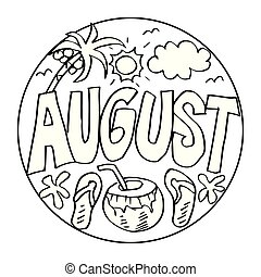 August Coloring Pages for Kids