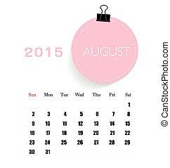 august., havonként, illu, naptár, vektor, sablon, 2015, naptár