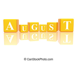 3d yellow cubes with letters makes august