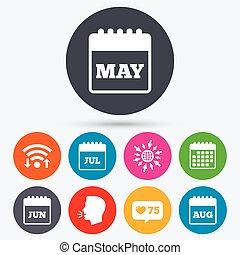 august., juin, juillet, calendar., mai