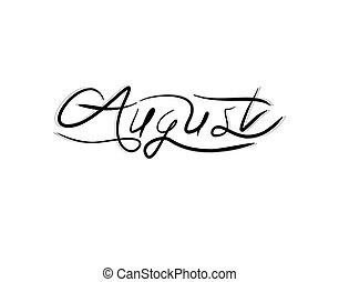 August Lettering Text on white background in vector illustration