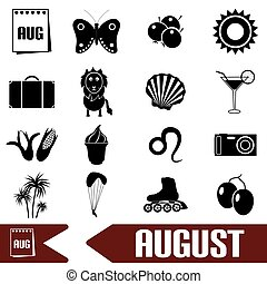 august month theme set of simple icons eps10