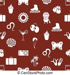 august month theme set of simple icons seamless red pattern eps10