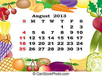 August - monthly calendar 2013 in frame with fruits and vegetables