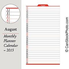 August, montly planner Calendar - 2015