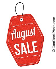 August sale label or price tag