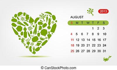 august., serce, sztuka, 2013, wektor, projektować, kalendarz