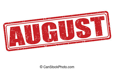 August stamp - August grunge rubber stamp on white...