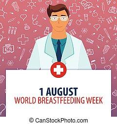 august., stillen, illustration., week., medizin, 1, holiday., vektor, medizinprodukt, welt