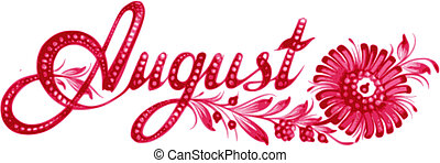 August, name of the month, hand drawn, illustration in Ukrainian folk style