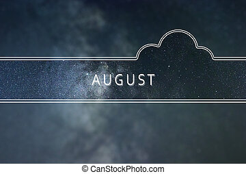 AUGUST word cloud Concept. Space background.