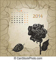 augusti, ro, hand, penna, artistisk, bläck, oavgjord, kalender, 2014.