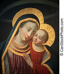 augustine's, s., iglesia, jesús, niño, madonna, wurzburg