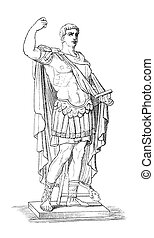 """Augustus aka Octavianus aka Gaius Julius Caesar Augustus, the first Roman emperor. Originally published in swedish book """"Historisk l?sebok"""" published in 1882. The image is currently in the publig domain by the virtue of age."""