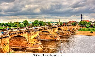 Augustus Bridge - Augustusbrucke over the River Elbe in Dresden