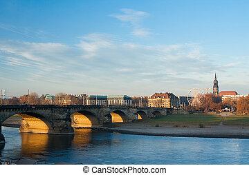 Augustus Bridge - Augustusbrucke over the River Elbe in Dresden - Germany