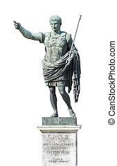 augustus roman empire emperor statue isolated on white