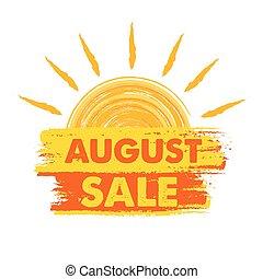 augustus, verkoop, met, zon, meldingsbord, vector