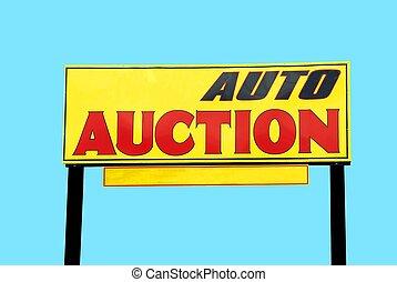 auktion, bil, underteckna
