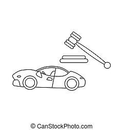 auktion, bilar, ikon, stil, skissera