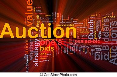 auktion, glühen, begriff, hintergrund
