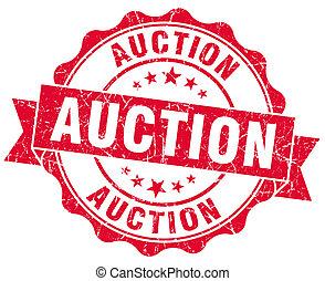 auktion, grunge, röd, stämpel