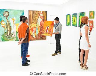 auktion, kunst galleri