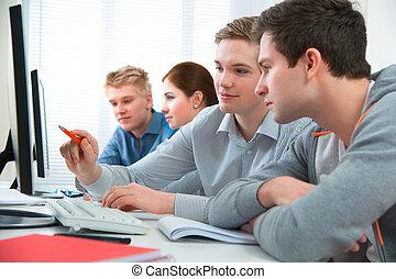 aula, addestramento, assistere, studenti, corso, computer