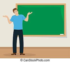 aula, appartamento, illustration., blackboard., isolato, giovane, alzata spalle, sorpreso, uomo