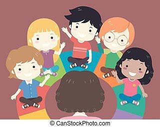 aula, bambini, colorito, illustrazione, posto, rotondo
