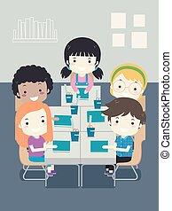 aula, bambini scuola, illustrazione, posto, studente