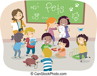 aula, bambini, stickman, animali domestici