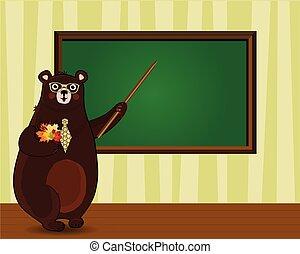 aula, carino, foglie, orso, cartone animato, autunno, presa a terra, puntatore, insegnante
