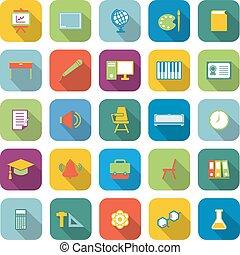 aula, colorare, uggia, lungo, icone
