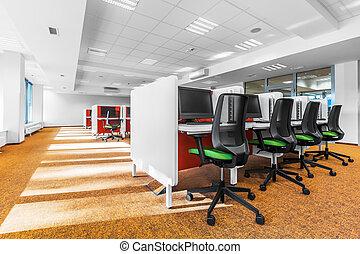 aula computer, con, pavimento arancia