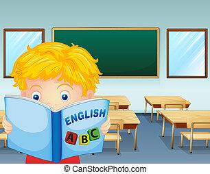 aula, dentro, lectura, niño
