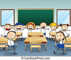 aula, dentro, niños, bailando