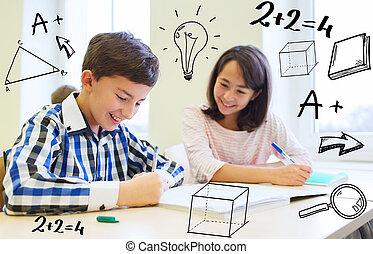 aula, escolares, grupo, escritura, prueba