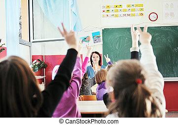aula, escolares, profesor, feliz