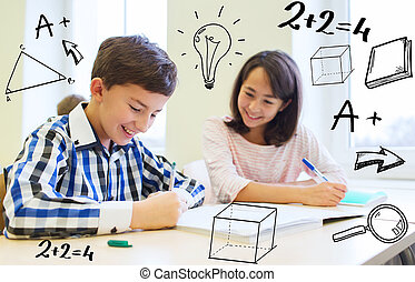 aula, escuela, niños, grupo, escritura, prueba