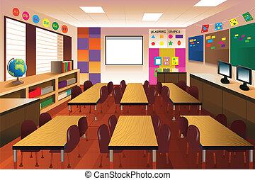 aula, escuela primaria, vacío