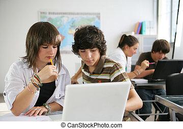 aula, estudiar, alumnos