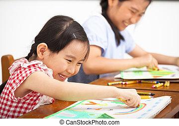aula, feliz, niños, dibujo