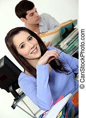 aula, giovane, studente