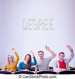 aula, grado, estudiantes, contra, colegio, manos, levantar
