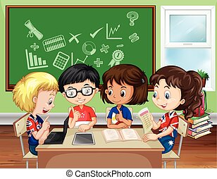 aula, grupo, niños, trabajando