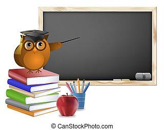 aula, libri, penne, mela, lavagna